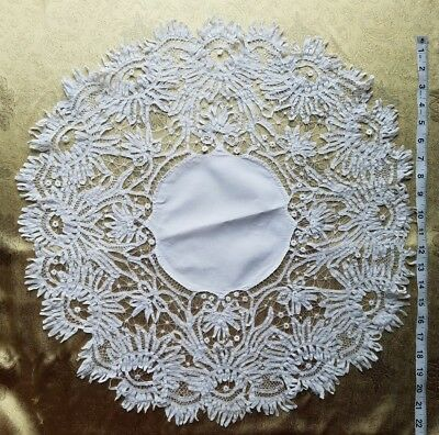 A36 Antique Doily Battenberg Tape Lace Centerpiece Hand stitched Table Linen