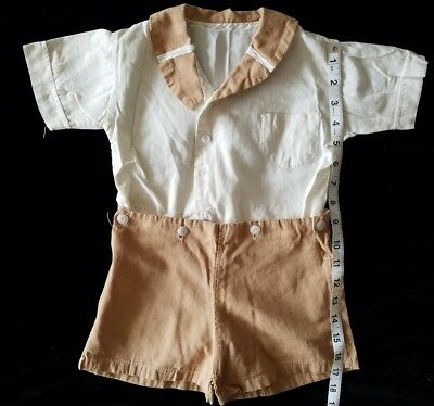 A32 Vintage Brown Romper Baby Toddler Boy Jumper Large Doll Teddy Bear Outfit