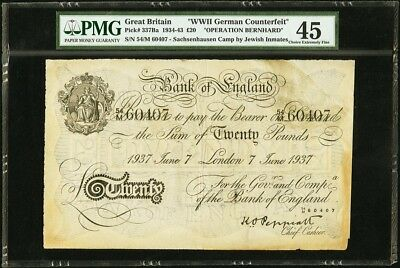 OPERATION BERNHARD Great Britain 20 Pounds 1937 Peppiat PMG XF 45 Counterfeit
