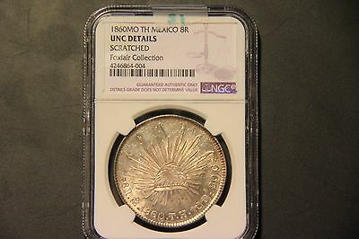 Mexico 1860MO Mexico City TH 8 Reales Peso NGC Uncirculated Details Proof Like