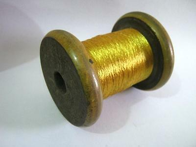Antique Vintage Wooden Spool With Golden Thread . Huge