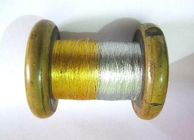 Antique Vintage Wooden Spool With Gold And Silver Thread . Huge