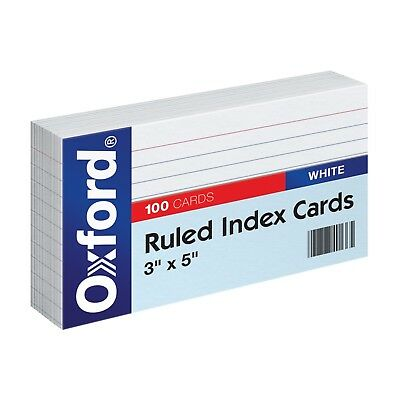 """Oxford Ruled Index Cards, 3"""" x 5"""", White, 100-Pack Note Cards"""