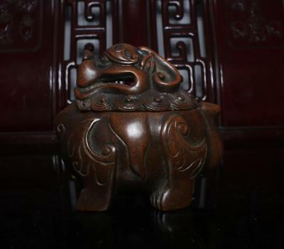 Old Chinese Bronze Kylin Incense Burner Chen Qiaosheng Marked