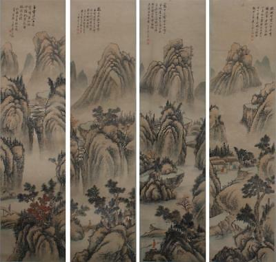 """Four Chinese Old Wu Huayuan Scroll Painting of Landscape 77.56"""""""