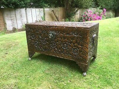 Japanese large wooden chest Trunk carved Lotus flowers foliage poss Liberty's
