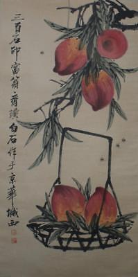 """Chinese Old Qi Baishi Scroll Painting Peaches 77.56"""""""