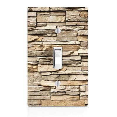 Beige Stacked Stone, Light Switch Cover, Bedroom Decor, Home Decor, Bathroom