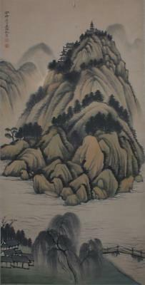 """Chinese Old Wu Hufan Scroll Painting Landscape 74.8"""""""