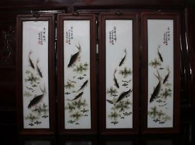 Old Rare Four Famille Rose Chinese Porcelain Scroll Wall Plaques Deng Bishan MK