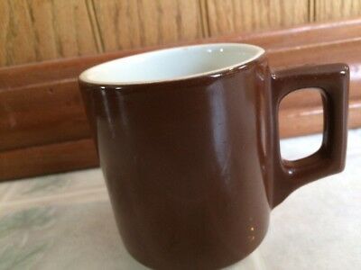 Buffalo China Brown Solid Coffee Mug Restaurant Ware Raised Mark Stacking
