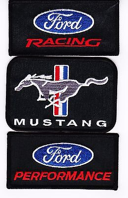 Ford Racing Mustang Performance Sew/Iron On Patch Combo Embroidered Cobra Gt 427