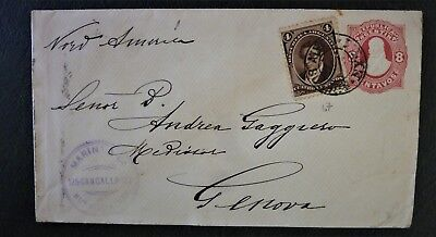 Argentina 1865 Travelled Postal Enitire to Italy stamped - Via North America