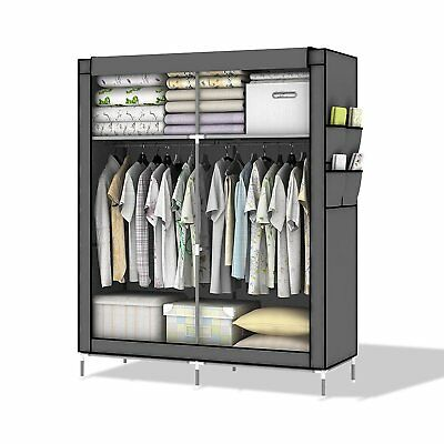 Intirilife – Lockable and Foldable Wardrobe Shelving System with Clothes Rail, x