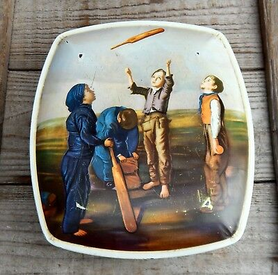 Vintage Mid Century Huntley U0026 Palmers Biscuits Storage Tin Cricket Sport  Boys