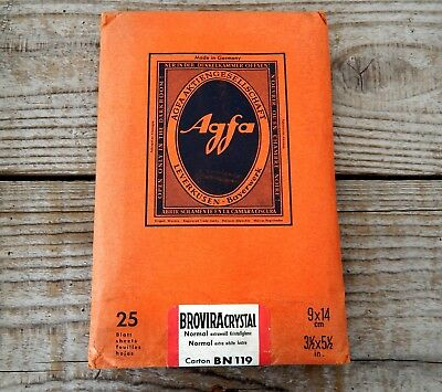 Vintage Pack Agfa Photographic Photo Paper Unused 25 Sheets 9x14cm Prints #A