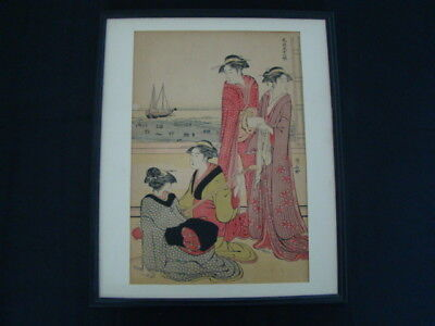 "Mid To Late 19th Century Signed Japanese Woodblock Print ""Women & Anchored Boat"""