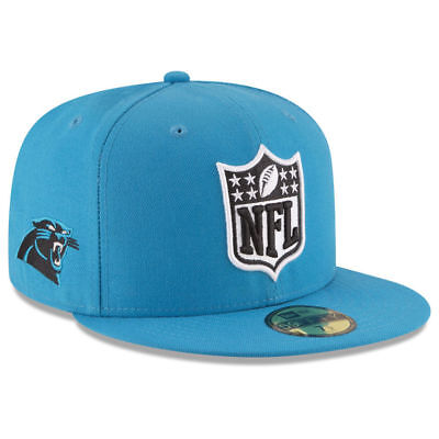 fe91a5808 Carolina Panthers New Era NFL Shield Team Logo Football Fitted Cap Hat Lid  Blue