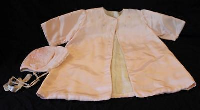 Vintage Infant Baby Silk Coat & Bonnet Pink w Delicate Embroidery 1930 - 1940