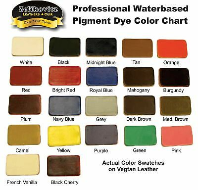 Zeli Pro Waterbased Leather Pigment Dye 4 Ounce Bottles 18 Leather Paint Colors
