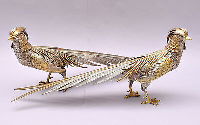 LARGE PAIR OF SOLID SILVER PHEASANTS. LENGTH: 40 cm / 18.7 in.