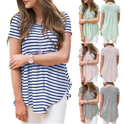 Fashion Women Casual Striped Pleated Short Sleeve T-Shirt Hem Tunic Top Blouse