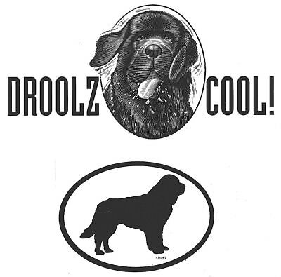 2 Newfoundland Dog DECALS DROOLZ COOL & EURO STICKERS - for Newfie Dog Rescue