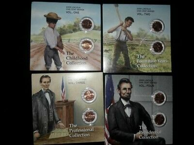 Complete All 4 2009 U.S. Mint P& D Unc Lincoln Bicentennial One Cent Collection