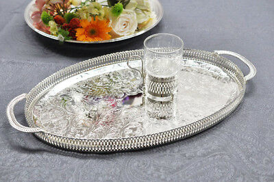 Queen Anne Silver Plated Oval Gallery Tray Handles - Gift - Serving - SALE