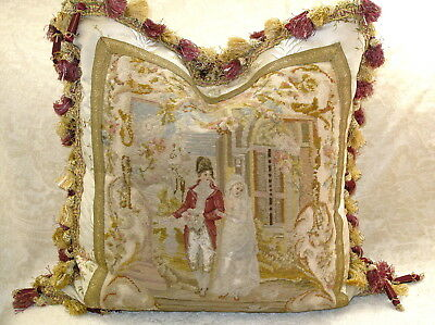 EXQUISITE 19TH c ANTIQUE NEEDLEPOINT TAPESTRY  WOOLWORK PILLOW~ BRIDE & GROOM