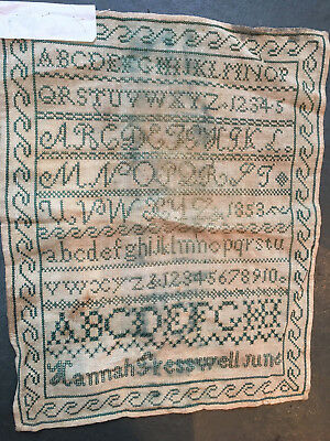 Victorian 1853 antique embroidery sampler by Hannah Gresswell