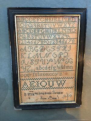 Early Victorian 1838 antique embroidery sampler. Framed and dated June 7th 1838
