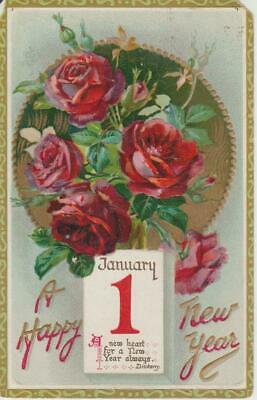 raphael tuck son embossed red rose happy new year vintage 1 franklin stamp pc