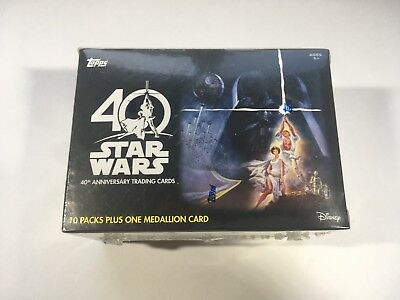2017 Topps Star Wars 40th Anniversary EXCLUSIVE Sealed Blaster Box MEDALLION NEW