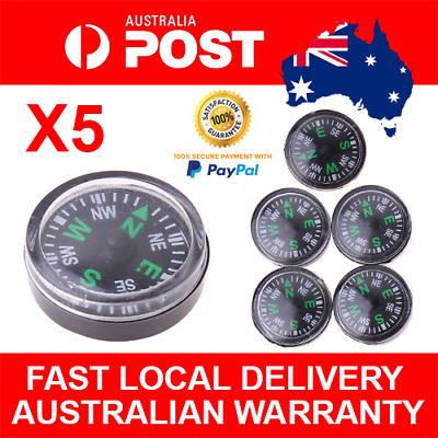 5pcs Button Compass Camping Bush Walking Hiking Orienteering Compasses