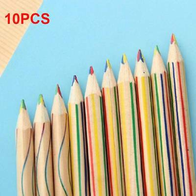10pcs Rainbow Color Pencil 4 in 1 Colored Drawing Painting Pencils Set