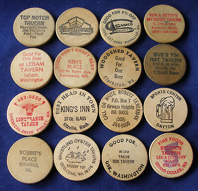 Washington State Wooden Nickels Rare Estate Lot Pubs Taverns Grand Coulee Asotin