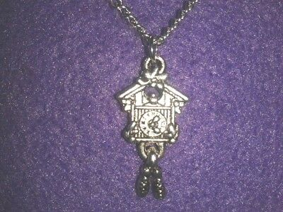 Cuckoo Clock Necklace * cute Antique Silver Unique Novelty Vintage