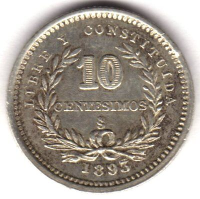 Uruguay 10 Centesimos 1893 Silver Santiago Mint Overdate 3 Over 3 And Clash Die