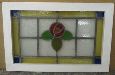 MID SIZED OLD ENGLISH LEADED STAINED GLASS WINDOW Floral & Border 23.75 x 15.75""