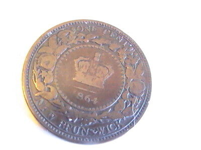 CANADA 1864 New Brunswick Canada Canadian Large 1 Cent Victoria Coin