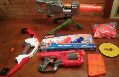 Nerf Gun Lot Of 6: Lightning Bow, Cycloneshock, (3)Snapfire, Turret, Plus More