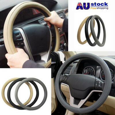 AU STOCK Leather Car Steering Wheel Cover Hand Sewing Comfort Non-slip 36 - 38cm
