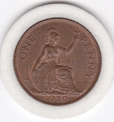 Scarce 1950  King George VI   Penny (1d)  Bronze  British  Coin