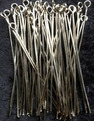Eye Pins - Silver - 50Mm - 50 Pieces - New