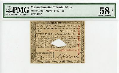 (MA-280) May 5, 1780 $3 MASSACHUSETTS Colonial Currency Note - PMG 58 EPQ