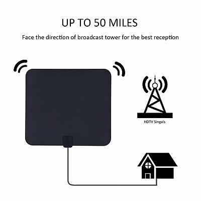 Thin HD Digital TV Antenna Indoor HDTV Amplifier 50 Miles Range VHF UHF Black