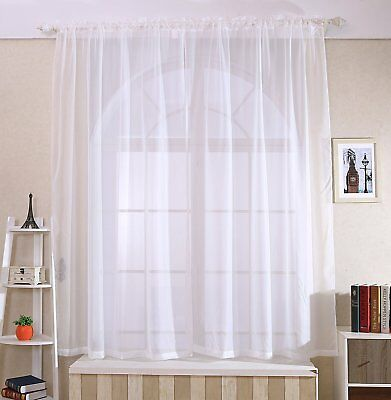 """2 Pack Fully Stitched Sheer Window Curtain Drapes Panel Treatment 60""""x84"""" White"""