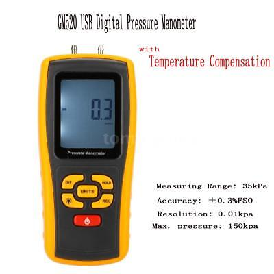 GM520 Portable USB Digital LCD Differential Pressure Gauge Meter Manometer H0P3