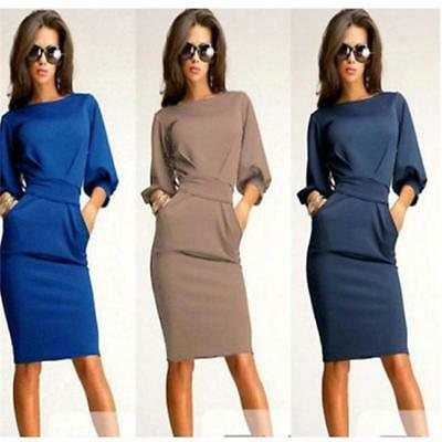 Summer Womens Lady Bodycon Business Office Work Cocktail Midi Pencil Dress B